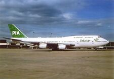 PIA Pakistan Int. Airways Boeing 747-367 AP-BFX at Manchester (MAN) UK  Postcard