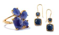 BLUE SAPPHIRE 35MM DROP HOOK EARRINGS + RING SET SIZE N - O SOLID SILVER GP