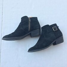 Steve Madden Prizzze boots 7 Womens Black Ankle ZIP Block Heel Suede Leather