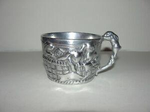 ARTHUR COURT 1997 Silver Tone Aluminum Embossed BUNNY RABBIT Baby Cup MUG