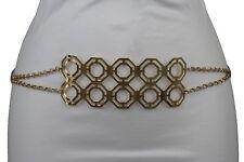 Sexy Chic Women Gold Metal Plate Retro Buckle High Waist Hip Fashion Belt XS S M