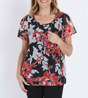 MILLERS Blouse Plus Size 10 12 14 16 18 Top Black Short Sleeve Floral Necklace