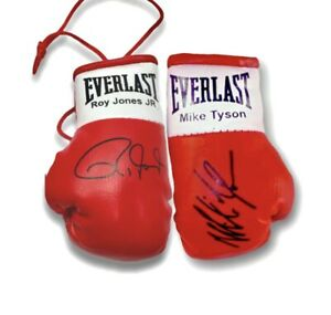 Autographed Mini Boxing Gloves  Mike Tyson v Roy jones Jnr