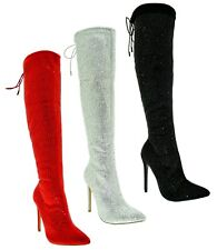 Scarpe da donna stivali sopra il ginocchio rossi Pleaser