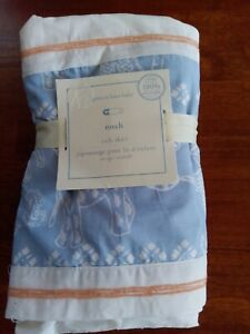 "Pottery Barn Baby Noah Crib Skirt 100% Cotton 16"" Drop New"
