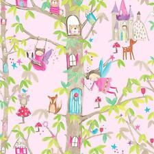 Arthouse bosque hadas Árbol Oso Brillo De Niña Papel pintado para niños Rosa