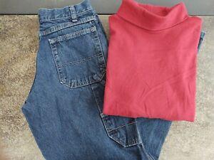 Lot of 2 Boys Wrangler carpenter Blue Jeans 12 And Red Cherokee Turtleneck 10/12
