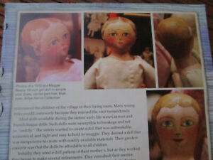 8pg Maggie Bessie Cloth Doll History Article / NORTH CAROLINA MORAVIAN / Harris