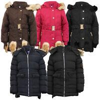 Girls Padded Jacket Kids Coat Fur Hooded Quilted BELT Sherpa Fleece Winter New