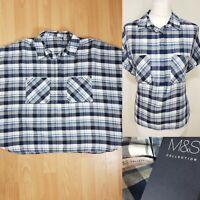 M&S Navy Blue White Gingham Check Boxy Button Down Shirt Plus Size 18 BNWT