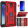 For Samsung Galaxy J7 V 2018/Star/Crown/Refine Stand Armor Case+Tempered Glass