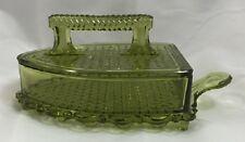 L E Smith Depression Glass Sad Iron Dish Green