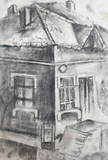 VINTAGE CHARCOAL DRAWING HOUSE LANDSCAPE