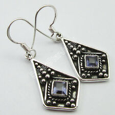 925 Pure Silver Original IOLITE ETHNIC Earrings 4.0 CM HANDMADE DESIGNER JEWELRY
