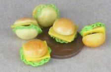 1:12 Scale 5 Cheese Burgers Dolls House Miniature Kitchen Bread Snack Accessory