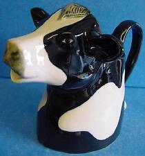 QUAIL BLACK & WHITE FRESIAN COW HALF PINT JUG CREAMER - FARM ANIMAL FIGURE MODEL