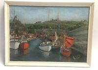 Vintage Oil Painting Harbour Scene Signed Framed Nautical Boating