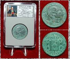 Coin King Of Spain ALFONSO XII Crowened Coat Of Arms On Reverse 5 Centimos