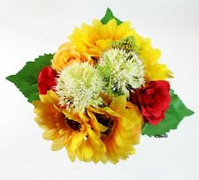 Sunflower Bouquet Red Roses Bridal Handmade Wedding Hand Toss Artificial Flowers