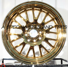 15X8 F1R F04 WHEEL 4x100/114.3 +0 73.1 GOLD CHROME RIM FITS VW CABRIO GOLF JETTA