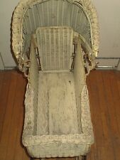 Lloyd's Loom Products  Beige Wicker Baby Stroller  October 16, 1917 Vintage
