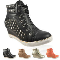 Womens Wedge Trainers Ladies Studded High Top Heel Trainer Shoes Ankle Boots New