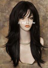 Human Hair Blend Wig Long Dark Brown Flip Out Straight Heat Safe wla 4