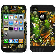 Black Mossy Oak Camo Impact Hybrid Hard Cover Case for Apple iPhone 4 4S 4GS