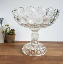 EAPG tall open compote Jeweled Moon and Stars antique glass 1896