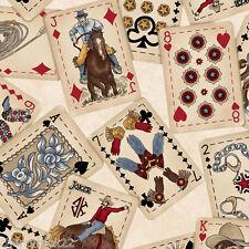 Maywood Studio HOLD 'EM OR FOLD 'EM western vintage playing card Fabric - Sand