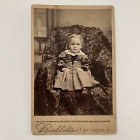 Antique Cabinet Card Photo Adorable Fashionable Little Baby Girl Mt Vernon OH