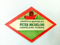 "Vintage Label Grown & Shipped by Peter Micheloni Groveland FL Produce 4"" L"