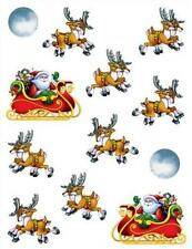 4 STICKER Sheets-Santas Sleigh & Reindeers /Xmas Party Bag Favours/Xmas Gifts!