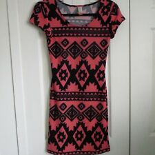 No Boundaries Black and Coral Tribal Mini Dress Size S (3-5)