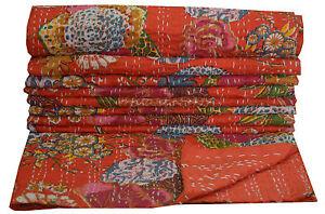 Rouge Floral Indien Kantha Couette Jeté de Lit Décor Vintage Ethnique Gudari