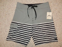Mens Rusty Gray Black Size 31 No Liner Striped Swim Surf Trunks Board Shorts
