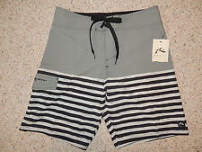 Mens Rusty Gray Black Size 31 No Liner Striped Swim Suit Trunks Board Shorts