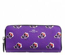 NWT Coach Bramble Rose Slim Accordion Zip Around Wallet Purple F56732