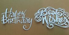 5 x Happy Birthday & 5 x Best Wishes White Card Toppers. Card Making. Craft