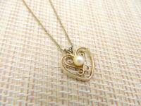 Gold Filled 12K Pearl Heart Pendant Necklace Vintage