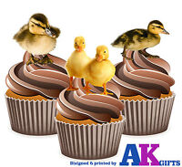 PRECUT Cute Ducklings Duck 12 Edible Cupcake Toppers Decorations Birthday Party
