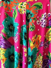 Breeches Ladies Multicolor Tropical Flowers Flowing Silk Skirt Size 8