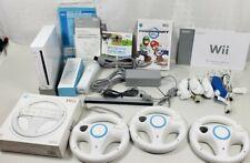 Nintendo Wii Console Mario Kart + Sport Bundle, 2 Controllers, 4 Wheels, 4 Wands