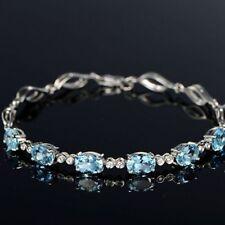 Wedding Crystle Women Cubic Girl Chain Zircon Aquamarine Bracelet