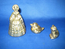 3 Antique  German Miniature Heavy Solid Brass Pieces: Bell, Frog, Duck 1 LB 1 oz