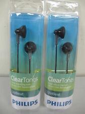 2 x Philips SHE 3010BK Earbuds-Earphones-Headphones Black