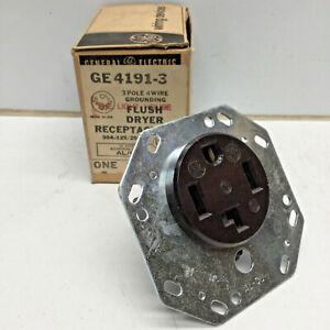 GE GE4191-3 Flush Dryer Receptacle 30A 125/250V 3-pole 4-wire NEMA 14-30R Black