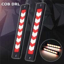 2PCS 12V COB LED DRL Feux de Jour Auto Lampe Diurne de Conduite Rouge Flexible
