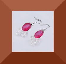 New fashion ladies jewelry  Silver Oval ruby  dangle earrings  #254