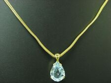 14kt 585 Yellow Gold Chain & Pendant with 7,68ct Blue Topaz Trim/ 9,8g/ 44cm